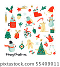 Set of Christmas holiday elements and icons 55409011