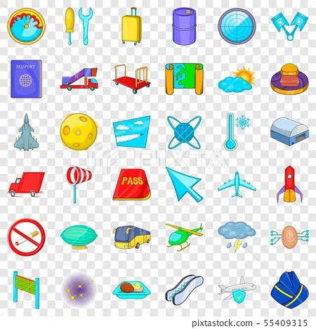 Airplane icons set, cartoon style 55409315