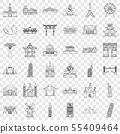 Architecture icons set, outline style 55409464