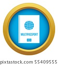 Multipassport icon blue vector isolated 55409555