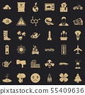 Radioactive icons set, simple style 55409636