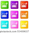 Oven icons set 9 color collection 55409637