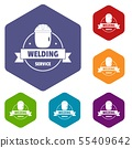 Welding mask icons vector hexahedron 55409642