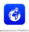 Globe of network icon digital blue 55409651