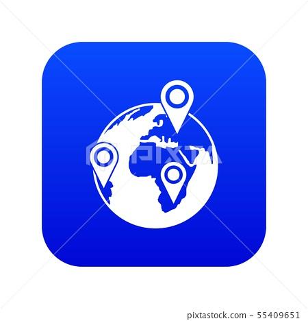 Globe of network icon digital blue 55409651