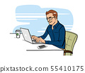 Man people working with laptop. flat vector 55410175