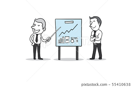 Businessman with presentation chart board. vector 55410638