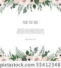 floral design card. Greeting, postcard wedding 55412348