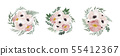 floral bouquet design anemone, Eucalyptus branch . 55412367