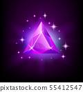 Triangular purple shining gemstone with magical glow and stars on dark background vector 55412547