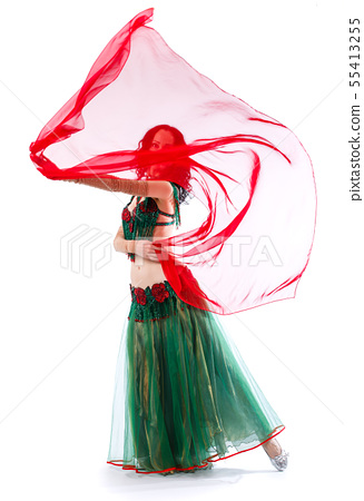 The girl is in the suit of an oriental dancer with a handkerchief 55413255