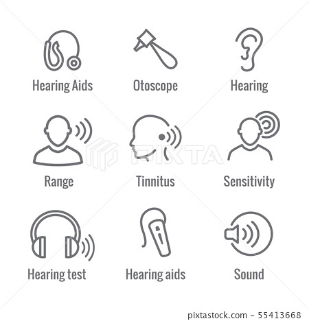 Hearing Aid or loss with Sound Wave Images Set 55413668
