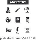 Ancestry or Genealogy Icon Set with Family Tree 55413730