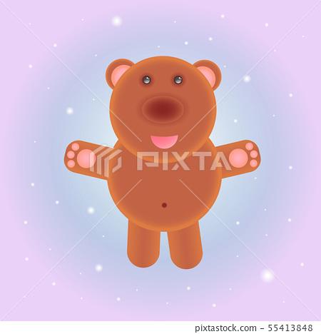 Vector illustration of cute cartoon teddy bear.  55413848