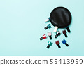 Top view of cosmetics bag with fallen out 55413959