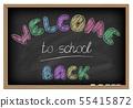 Back to school poster. Chalkboard effect. 55415872