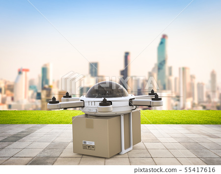 delivery drone in city 55417616