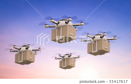 delivery drones flying 55417617