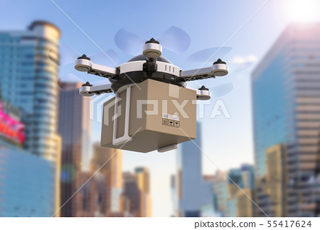 delivery drone flying 55417624