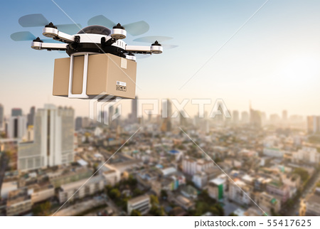 delivery drone flying 55417625
