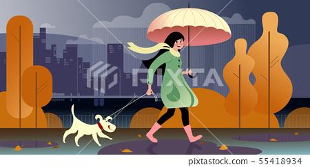 Pet walking in the fall 55418934