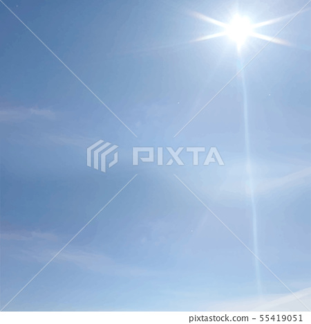 Image of blue sky, clouds and sun rays 55419051