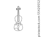 Classical violin black and white icon. Isolated Vector String ill. 55420552