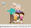 Elderly couple making selfie photo with smartphone 55422234