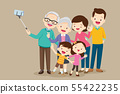 Elderly making selfie photo with family 55422235