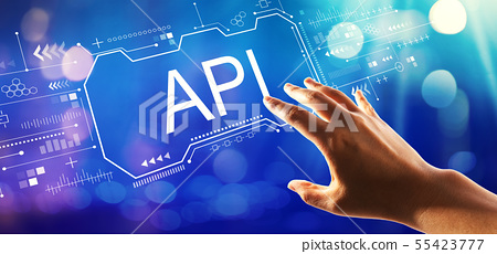 API concept with hand pressing a button 55423777