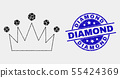 Vector Dotted Crown Icon and Distress Diamond Stamp 55424369