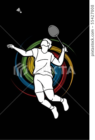 Badminton player action cartoon graphic vector. 55427008