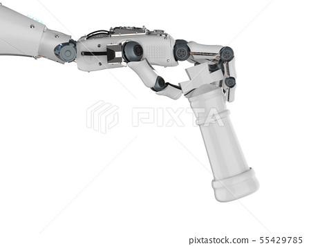 robotic hand holding chess king 55429785