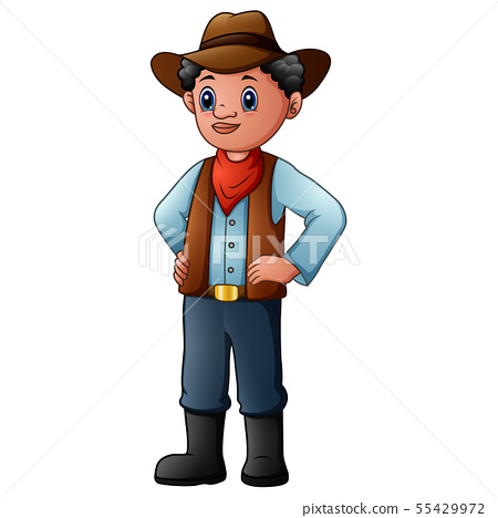 Old cowboy wearing a red bandana, hat and boots 55429972