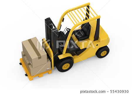 forklift truck with cardboard boxes 55430930