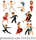 Dancing people vector flat icons characters dance 55431232