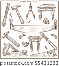 Carpentry tools sketch vector icons set for 55431233