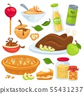 Apple food and drinks or desserts. 55431237