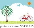 자전거와 나무 풍경 일러스트 55431315