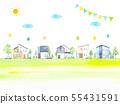都市風景住宅區風景水彩例證 55431591