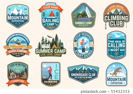 Set of sailing camp, canoe and kayak club patches. Vector. Concept for shirt, print, stamp or tee 55432333