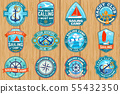 Set of summer sailing camp patches. Vector. Concept for shirt, stamp or tee. Vintage typography 55432350