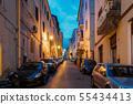 Cars Parked On Narrowm Street In European City In Summer Night 55434413