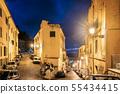 Terracina, Italy. View Of Piazza Santa Domitilla In Evening Or Night Illuminations 55434415