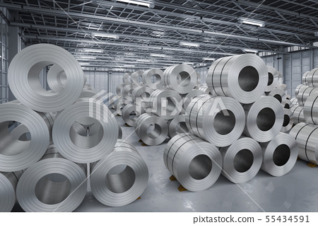 roll of steel sheet in factory 55434591