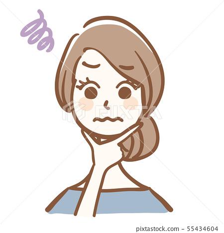 고민하는 여성의 일러스트 55434604