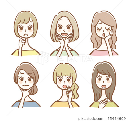 Hand drawn woman icon set anxiety / trouble 55434609