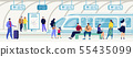 Passengers on Subway Station Flat Vector Concept 55435099