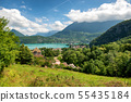 view of Annecy lake in french Alps with Duingt 55435184