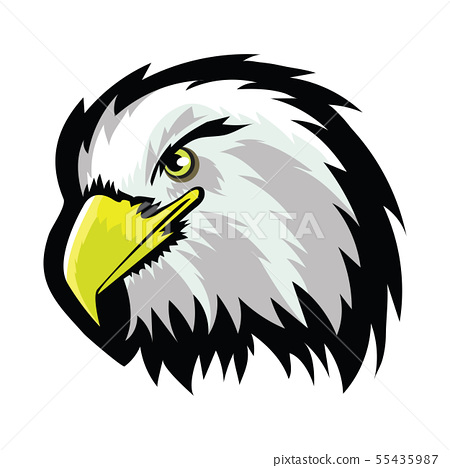 White American North Bald Eagle Head Tattoo Design. Logo Prey Bird Isolated on White Background 55435987